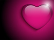 Glass Pink Glossy Heart