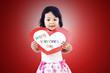 Girl holding valentine card