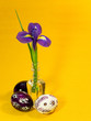 Three painted easter eggs and iris flower
