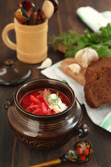 Borsch - russian national red soup.