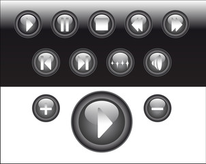 media player buttons black