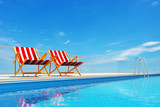 Fototapety Swimming pool with beach chairs