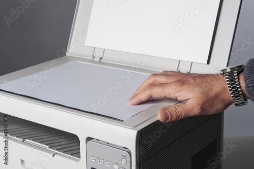 Leinwanddruck Bild Man hand making copy.