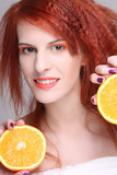 redhaired woman with orange half