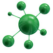 green round spheres are united inter se on a white background