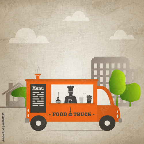 food truck in the city - canvas version v2