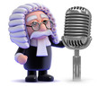 Judge with an old retro microphone