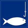 Schild blau - Fischen