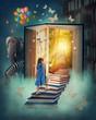 Leinwanddruck Bild - Little girl walking up stairs