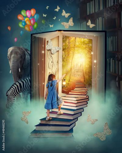 Leinwanddruck Bild Little girl walking up stairs