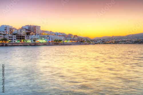Agios Nikolaos city at sunset on Crete, Greece