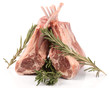 Raw rack of lamb with rosemary, isolated on white