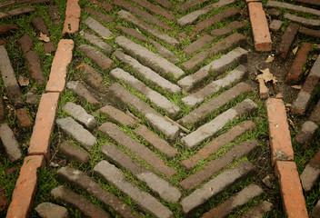 Antique brick floor texture