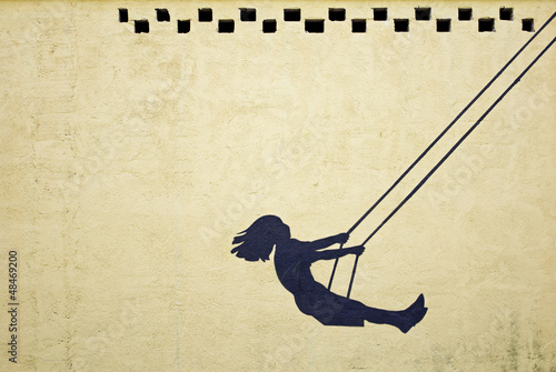 Leinwandbild Motiv Girl swinging