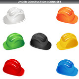 Safety constuction helmet in various colors on white