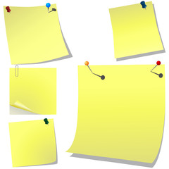 Yellow pinned memo paper on white