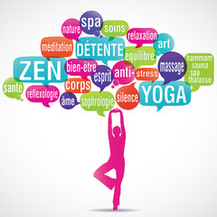 nuage de mots bulles silhouette : détente zen