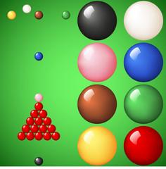 Snooker ball set on green cloth.