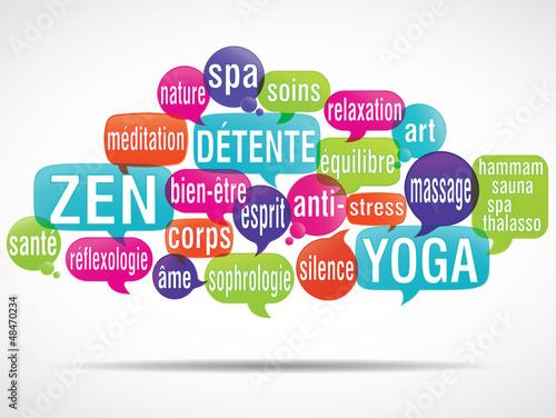 nuage de mots bulles 3d : détente, zen