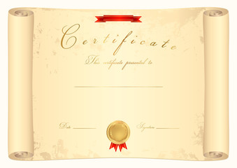 Scroll certificate. Old map. Vector illustration