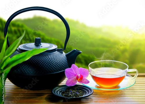 Fotobehang Thee Teegenuss im Teeanbaugebiet