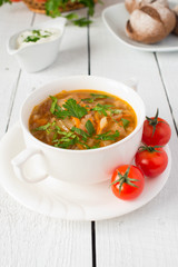 Vegetable soup from cabbage with tomatos