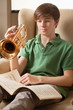 Practicing the trumpet at home