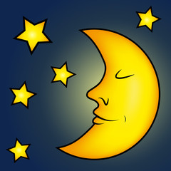 Bright moon and stars