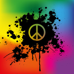 Peace sign on rainbow background