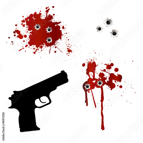 Gun with bullet holes and blood - 48472016