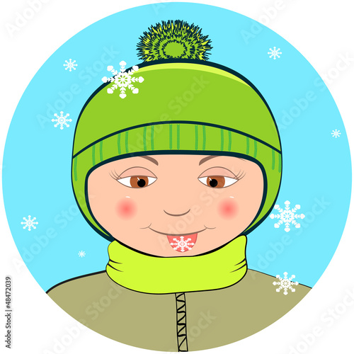 Boy with snowflake