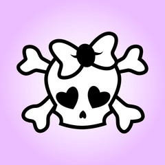 Girly skull illustration