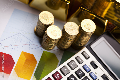 Office Concept, Gold bar and coins