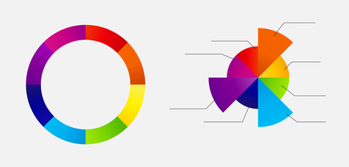 Concept of colorful circular banners with arrows for different b
