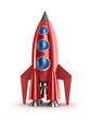 Retro red rocket concept. Isolated on white. - 48473852