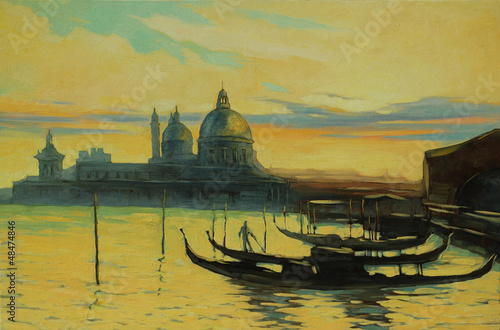 gondolas on landing stage in venice, painting by oil paints , il