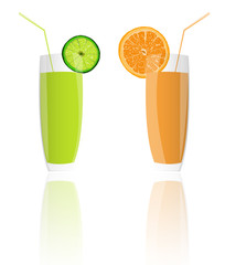 Fresh juice orange and lime on a white background