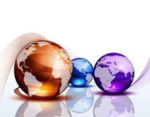 Graphic background with color globes