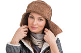 Winter woman posing at white background and having fun