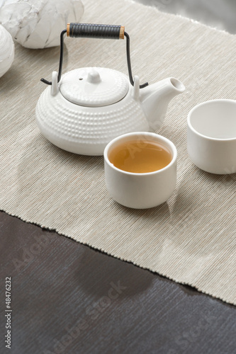 Tea set at beautiful lounge with nobody