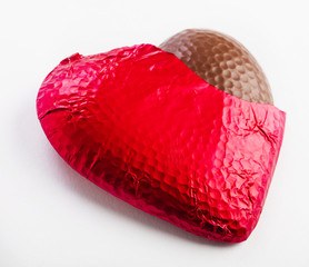 Unwrapped chocolate heart