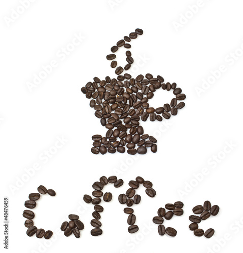 Fotobehang Koffiebonen Coffee bean on white background - cup