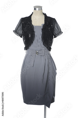 Modern, stylish dress isolated on a mannequin