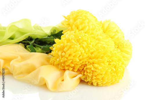 bouquet of bright yellow chrysanthemums flowers