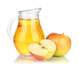 Full jug of apple juice and apple isolated on white