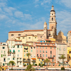 View of old town in Menton, Cote D'Azur, France