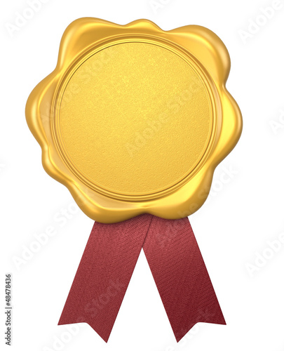 gold wax seal with red ribbons