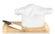 Chef's hat with knife isolated on white
