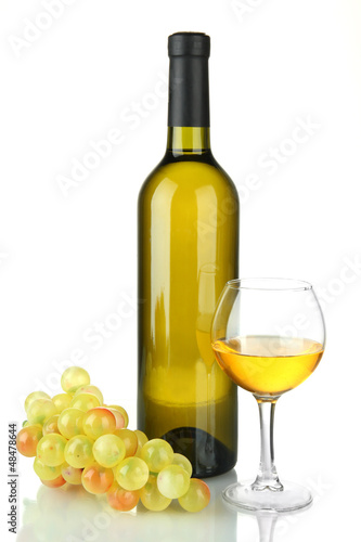 composition of wine and grapes isolated on white