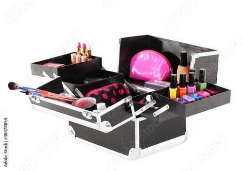 open case with cosmetics isolated on white